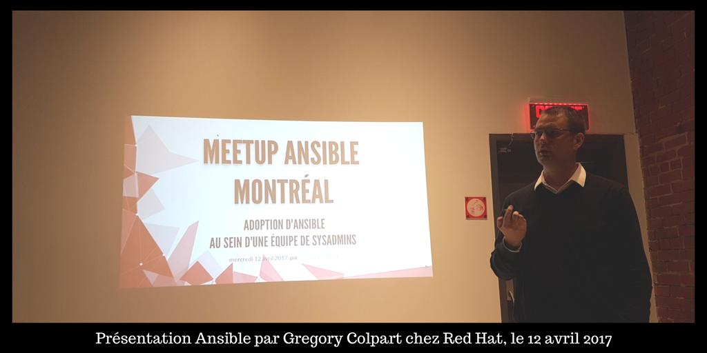 Photo de la présentation d'Evolix au Meetup Ansible chez Red Hat