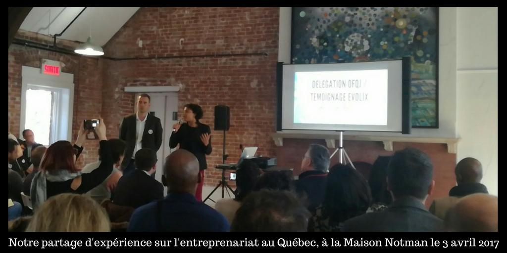 Partage d'expérience par Evolix devant la délégation française, à la Maison Notman