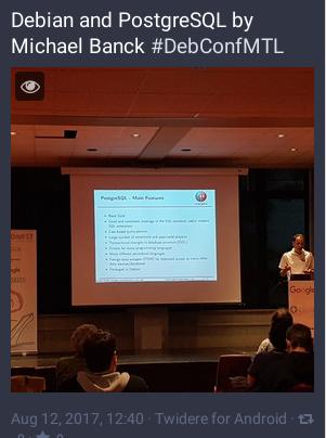 Présentation DebConf17 sur Debian and PostgreSQL par Michael Banck